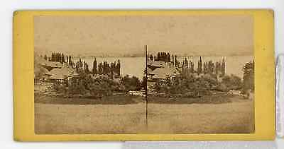 STEREO France Annecy le Lac   Tirage albuminé  8,5x17  Circa 1870  <div st