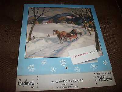 1949 Calendar Texaco Advertising Hammond Minnesota W.C. Thies's Hardware Nice
