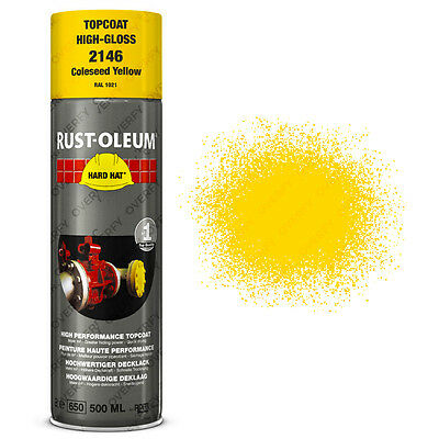 x5 Industrial Rust-Oleum Coleseed Yellow Spray Paint Hard Hat 500ml RAL 1021