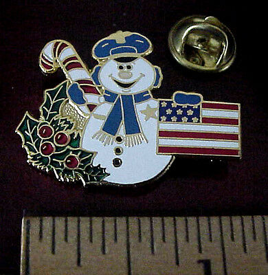 Patriotic Christmas Police Snowman Badge Holly Candy Cane Usa Flag Pin