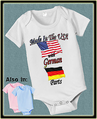Made In Usa With Germany German Parts Bodysuit Flag Shirt Proud To Be American