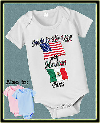 Made In Usa With Mexican Mexico Parts Bodysuit Flag Shirt Proud To Be American