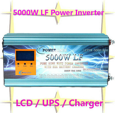 """20000W/5000W LF Pure Sine Wave Power Inverter 12V DC/230V AC 3.5""""LCD/UPS/Charger"""