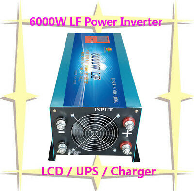 """24000W/6000W LF Pure Sine Wave Power Inverter 24V DC/230V AC 3.5""""LCD/UPS/Charger"""