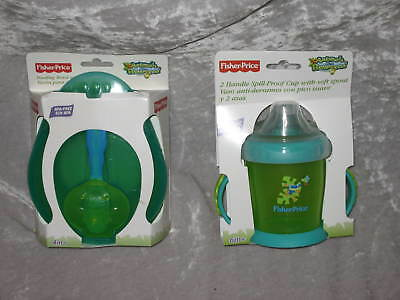 Fisher Price Bowl Spoon 2 Handle Spill Proof Cup NEW!