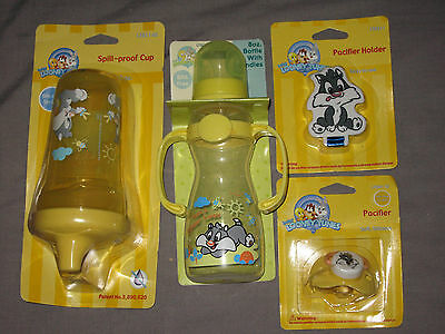 Baby Sylvester Silicone Pacifier Holder Tiwn Handle Bottle Sippy Cup NEW!