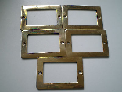 5 Heavy Cast Brass File Drawer LABEL HOLDERS