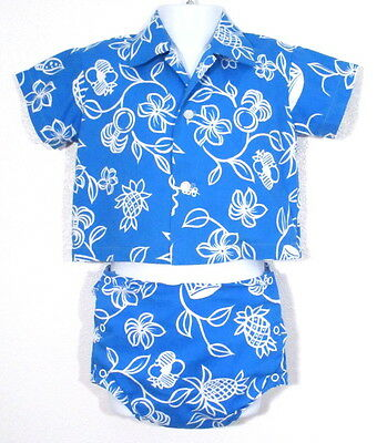 Vintage 1950's HAWAIIAN SWIMSUIT Boys 50's Rare HOALOHA Trunks Swim Shirt