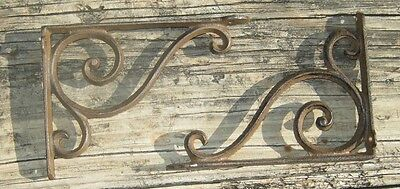 set of 2 antique style Cast Iron Decorative Scroll Shelf Brackets #03