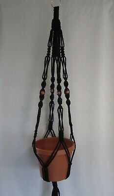 Macrame Plant Hanger 40in Vintage Style BEADED 6mm *PickColor