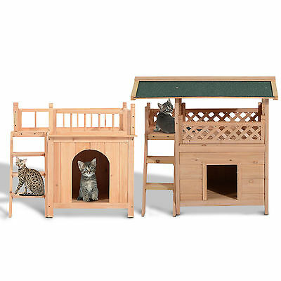 PawHut Wooden Pet House Cat Dog Bed 2-Story Window Lookout Balcony Puppy House