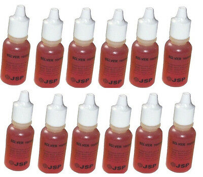 12 Bottles Of Silver Metal Test Acid Solution Silver Buying Jewelry Testing!