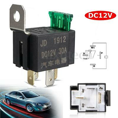 30A Mini Fused Fuse On/Off Car Motor Auto Fused Relay 4 Pin 4P SPST Metal DC 12V