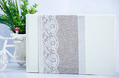 Wedding Guest Book Vintage Gift Lace Hessian Details Ivory Elegant Luxury Rustic