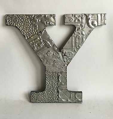"Large Reclaimed Tin Ceiling Wrapped 16"" Letter 'Y' Patchwork Metal Silver E13"