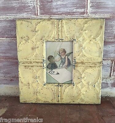 """Antique Ceiling Tin Picture Frame 4"""" x 6"""" *SEE OUR SALVAGE VIDEOs* Tan Rust GG3"""