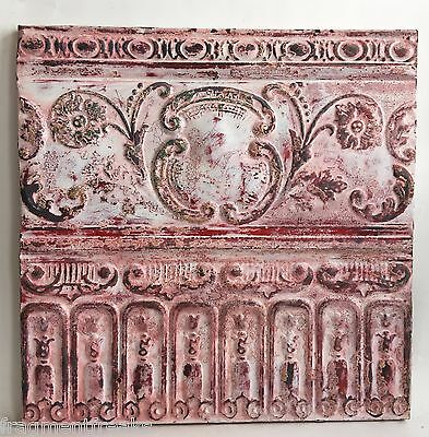 23x23 Antique Tin Ceiling Tile White Wrapped Wall Art Anniversary C20 Reclaimed