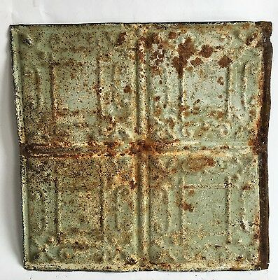 """12"""" x 12"""" Antique Tin Ceiling Tile Reclaimed 99a  Green *SEE SALVAGE VIDEOS*"""