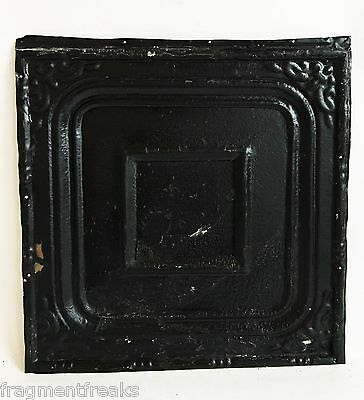 """12"""" x 12"""" Antique Tin Ceiling Tile Reclaimed C52a  Black *SEE SALVAGE VIDEOS*"""