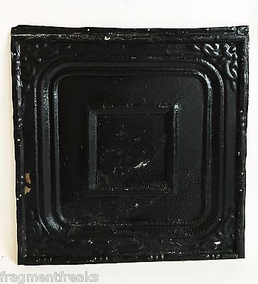 "12"" x 12"" Antique Tin Ceiling Tile Reclaimed C52a  Black"