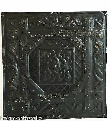 "12"" x 12"" Antique Tin Ceiling Tile Reclaimed C50a  Black *SEE SALVAGE VIDEOS*"