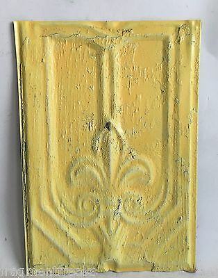 "9""x12.5"" Antique Tin Roof Tile SEE SALVAGE VIDEOS Lemon Yellow Fleur De Lis C27"