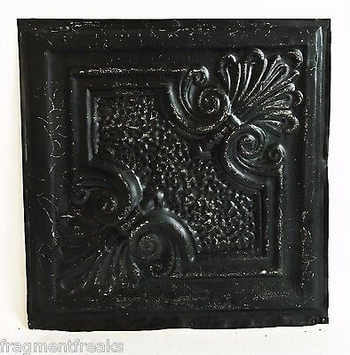 "12"" x 12"" Antique Tin Ceiling Tile Reclaimed C49a  Black *SEE SALVAGE VIDEOS*"