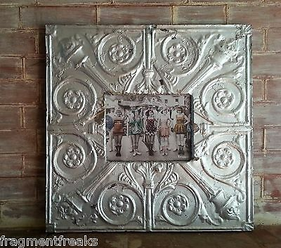 "ANTIQUE Ceiling Tin Frame 8 x 10 *See our Videos* Metal silver 23"" x 23"" B2"
