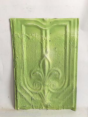 "9""x12.5"" Antique Tin Roof Tile Lemon Lime Fleur De Lis C32 SEE SALVAGE VIDEOS"