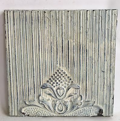 "11"" x 11"" Antique Tin Ceiling Tile Wrapped Frame Green Anniversary Wall Art C13"