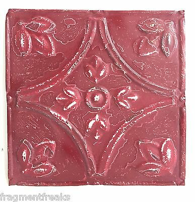 "8"" x 8"" Antique Tin Ceiling Tiles*SEE OUR SALVAGE VIDEOS* Raspberry C64a"