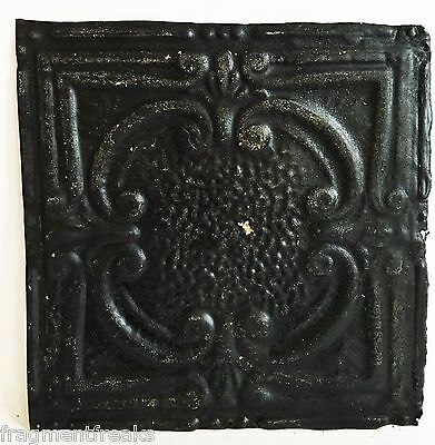 """12"""" x 12"""" Antique Tin Ceiling Tile Reclaimed C48a  Black *SEE SALVAGE VIDEOS*"""