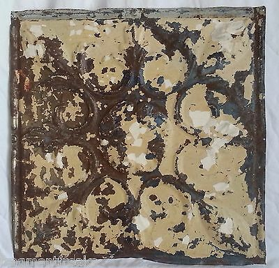 "1890's Reclaimed Metal 12"" x 12"" Antique Tin Ceiling Tile Tan & Cream SG50"