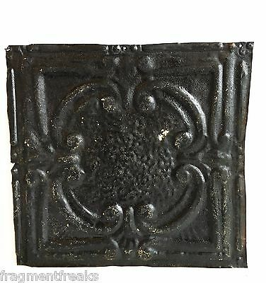 "12"" x 12"" Antique Tin Ceiling Tile Reclaimed C41a  Black *SEE SALVAGE VIDEOS*"