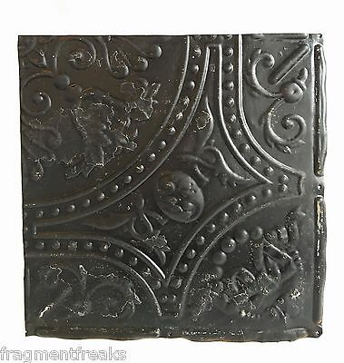 """12"""" x 12"""" Antique Tin Ceiling Tile Reclaimed C35a  Black *SEE SALVAGE VIDEOS*"""