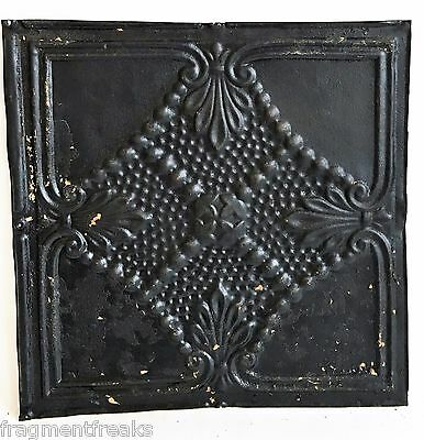 "12"" x 12"" Antique Tin Ceiling Tile Reclaimed C45a  Black *SEE SALVAGE VIDEOS*"