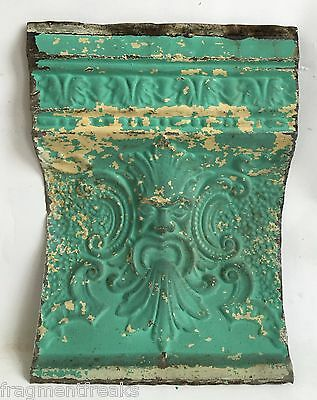 """Antique Tin Ceiling Tile Old Man Of The North 12"""" x 16"""" Blue C21a *See Videos*"""