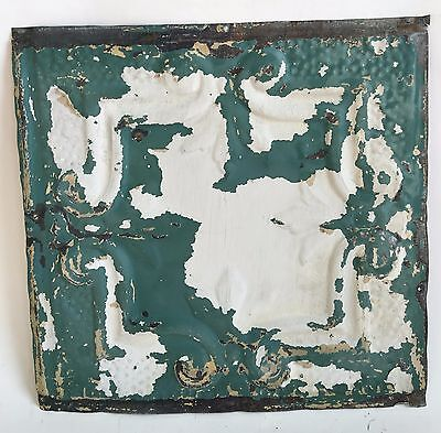 "12"" x 12"" Antique Tin Ceiling Tile Reclaimed 101a Green"