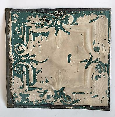 "12"" x 12"" Antique Tin Ceiling Tile Reclaimed 102a Green *SEE SALVAGE VIDEOS*"