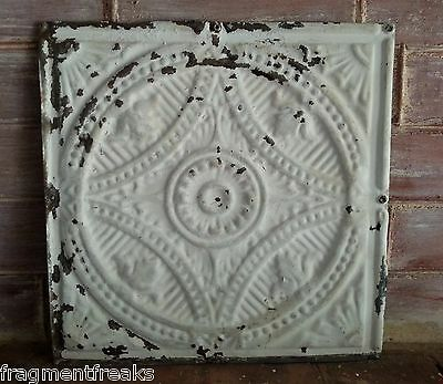 "12"" x 12"" Antique Tin Ceiling Tile Metal LZ5  Ivory *SEE OUR SALVAGE VIDEOS*"