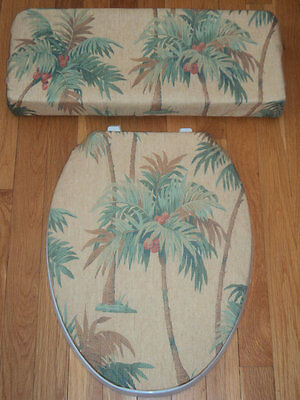 Beach House Coastal Palm Trees Bathroom Decor ..Toilet Seat & Tank Lid Cover Set