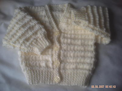 Hand Knitted Cream Baby Cardigan Size 0-3 Months.
