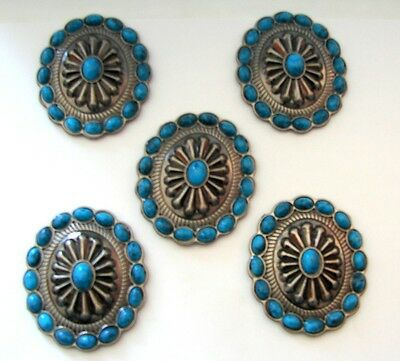 """5-1.75"""" Oval Antique Turquoise Blu Concho for Headstall Saddle spurs Chaps Craft"""