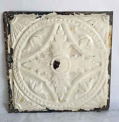 "1890'S 12"" x 12"" Antique 1890's Tin Ceiling Tile Ivory E24a Anniversary"