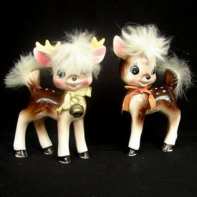 Rare Vintage Napco Reindeer Girl Boy Figurine with Fur and Bell - Adorable!!!