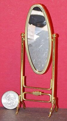 Dollhouse Miniature Brass Oval Dressing Mirror 1:12 inch scale G6 Dollys Gallery