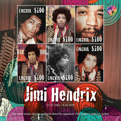 2016 Jimi Hendrix- Postage Stamps & Souvenir Sheet From - Liberia