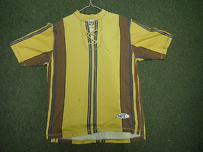 Vintage Haviton Large Mens Brown Blue & Yellow Casual Dress T Shirt.