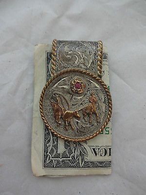 Team Roping Sterling Silver Money Clip Carlos Hand Engraved Rope Horse Concho