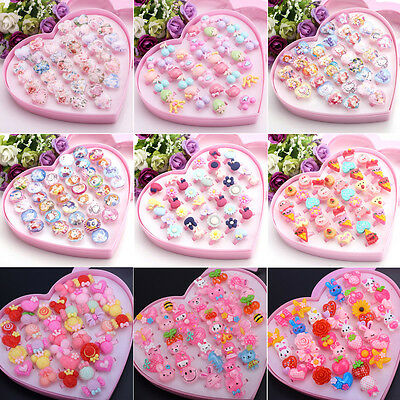 Wholesale Mixed Assorted Flower Animal Cartoon Girl Children Plastic Metal Rings